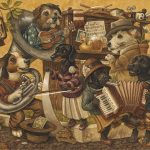 musicians, Dogs, and musical instruments