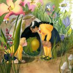 garden, giant, toad,  flowers, and insects