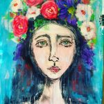 portrait,  flowers, and wall art