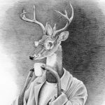 deer, Coffee, jacket, hipster, hipster glasses, and anthropomoric