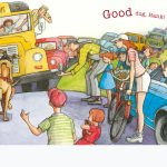 a dog-friendhsip story, school bus, and people