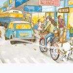 a dog-friendhsip story, Street scene, village life, and small town