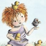 little girl, chicks, red hair, and curly hair