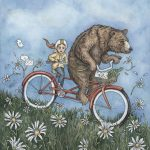 animal, bike riding, anthromophism, bear, and  flowers