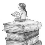 child reading, childrens characters, interior illustration, and black and white illustration