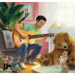 Baby and Toddler, Father and Daughter, Contemporary family, and making music., and bear