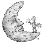 moon, childrens characters, interior illustration, interior illustrations, and black and white illustration