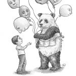 balloons, panda, childrens characters, animals, animal characters, black and white illustration, interior illustrations, and interior illustration