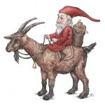 christmas, animals, old man, Elf, goat, animals, and animal characters