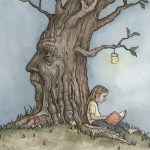 children fantasy, trees, child reading, and childrens characters
