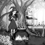 little witch, magic potion,  forest, and spooky stories