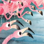kid and parents, picky eater, flamingos, birds, and eating