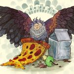 harpy, Friendly Monsters, monster, and pizza