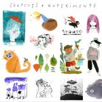 sketchbook, adorable animal, friends, curious kids, birthday,  hats,  pen and ink, fun, #cat, boy, and adventuresome girl