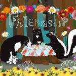 friendship, animal friends, tea party, black and white, and  cute pets