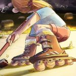 roller blades, Girl on Rollerblades, Rollerskate, At Night, storm, and stormy