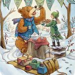 bear, tea party, winter, sled, and Holiday