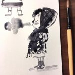 paint brushes, Character Sketch, sketch, drawing, and breath