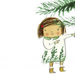 christmas tree, little girl, and branches