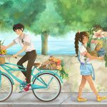 friends, Multicultural, middle grade,  flowers, and bike