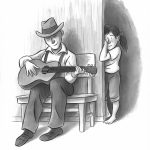 guitar and Father and Daughter