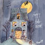 Halloween, watercolor illustration, cute, cute kids, and curious kids