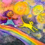 rainbow, fairies, African American child, nighttime, and Animals: cats
