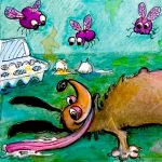 gross humor, bad dogs, funny animal character, and insects