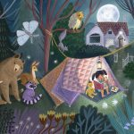 child reading, Tent, Animals, nightime, and outdoor activities