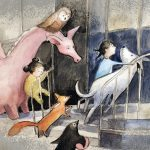 animals, girl hero, penguin, dragon, and library