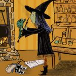 little witch, magic spell, and Halloween