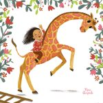 A little girl whose imagination comes to life, giraffe, and a picture book