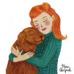 lady, girl with dog, a picture book, and Chapterbook
