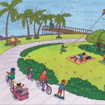 families, city park, bike riding, and kids playing