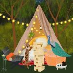 camping, friendship,  cute, peacock, leopard, and games