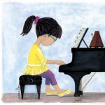 Musician, piano, piano practice, and little girl