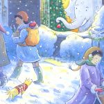 Christmas, city life, cute elephant, stroller, and Santa Claus