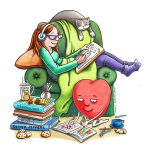 girl/teenage empowerment, Books and Reading, and girl drawing