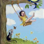 girl swinging, cats kittens, happy, and Singing