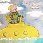 Young Boy, Submarine, seagull, waves, and ocean