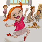preschool, laughing, Young girl, and red hair