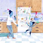 dancing, Happy Mom, Mother in kitchen, and kitchen