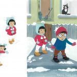 snowball fight, Winter, siblings, Siblings, and gouache