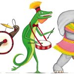 parade, drum, Sound, Lizard, bear, elephant, marching, and Wheels on the Bus