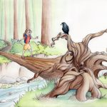 children in nature, appreciating nature, Adventure/Mystery, and crows