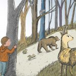 Bear in Woods, in the woods, boy, and animals