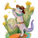 Lizard, western, trumpet, horn, playing music, and Animal