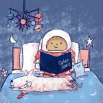 outer space, child reading, astronaut, and A boy and his dog