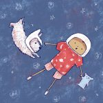 outer space, Imagination, astronaut, and A boy and his dog