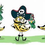 Pirate, pirates, banana, funny, Silly characters, and food character